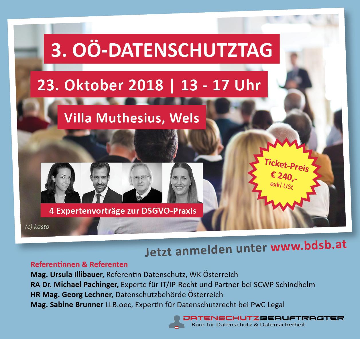 3. OÖ-Datenschutztag | 23.10.2018 | Wels